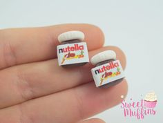 Nutella earrings Polymer Clay minature chocolate-stud earrings