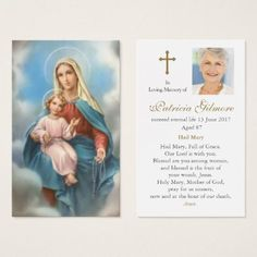 Prayer Cards Our Lady of the Holy Rosary Prayer Cards For Funeral, Memorial Cards For Funeral, Funeral Thank You Cards, Funeral Prayers, Catholic Prayers, Catholic Saints, Holy Rosary Prayer, Holy Mary, Business Card Size