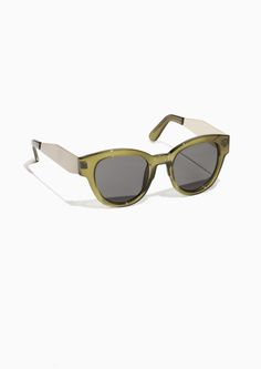 & Other Stories Semi Round Sunglasses in Green