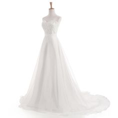 White/Ivory Chiffon Embroidery Beach A-Line Wedding Dress - Uniqistic.com