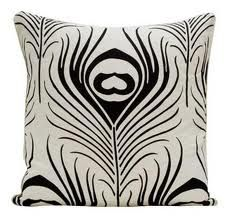 peacock accent pillow - black and white