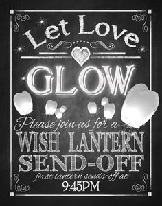 "Chinese Wishing Lantern Send Off Sign 8x10"" DIY Wedding Signage Poster ..."