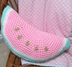 Crochet Watermelon Cushion, Pink, mint and gold  by LittleFoxCrochet on Etsy https://www.etsy.com/listing/224268439/crochet-watermelon-cushion-pink-mint-and