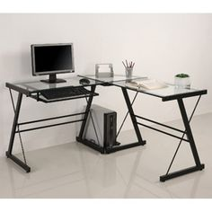 Walker Edison Furniture Company Modern Corner L Shaped Glass Computer Writing Gaming Gamer Command Center Workstation Desk Home Office, 51 Inch, Black Black Desk, Black Glass Computer Desk, Office Computer Desk, Computer Rooms, Top Computer, Desk Dimensions, Small Space Office, Small Spaces, Contemporary Desk