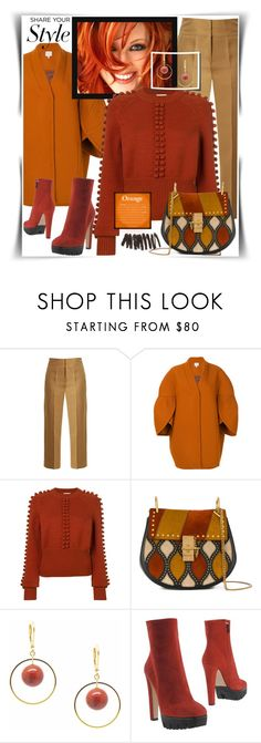 """Orange & Brown"" by gingerbrand ❤ liked on Polyvore featuring Muveil, Delpozo, Chloé, Salome, Le Silla, Bobbi Brown Cosmetics, contest and steffilovesyou88"