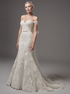 Sottero and Midgley Addison - This fit-and-flare features elegant lace motifs, a sweetheart neckline, and a striking hem. Finished with covered buttons over zipper and inner elastic closure. Detachable off-the-shoulder illusion sleeves, accented in lace a Fit And Flare Wedding Dress, Perfect Wedding Dress, Best Wedding Dresses, Designer Wedding Dresses, Bridal Dresses, Wedding Gowns, Form Fitting Wedding Dress, 2017 Wedding, Wedding Summer