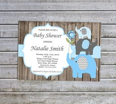 Baby Shower Invitations For Boys Elephant Baby By Diymyparty