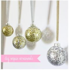 Nothing says I love you like homemade Christmas ornaments! Here is 75 ways to fill clear glass ornaments for homemade Christmas Ornaments! Clear Glass Ornaments, Sequin Ornaments, Diy Christmas Ornaments, Christmas Decorations, Handmade Ornaments, Noel Christmas, Homemade Christmas, Christmas Balls, Christmas Projects