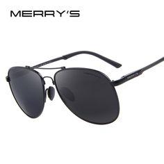 255f8fcdac MERRY S Men Classic Brand Aviation Sunglasses HD Polarized Aluminum Driving  TR90 Titanium Bridge Sun Glasses S