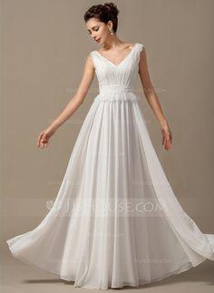 A-Line/Princess V-neck Floor-Length Chiffon Wedding Dress With Bow(s) Cascading Ruffles (002068150) - JJsHouse