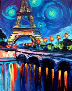 Seine by Aja - beautifully colorful Paris cityscape original oil painting.  Ah, honeymoon...