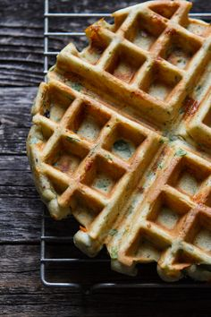 SAVORY SPINACH & CHEESE WAFFLE ~~~ the flours used are buckwheat and sweet rice. the ingredient list also includes almond meal, almond milk, applesauce, garlic, baby, spinach, and pepper jack cheese.  [edibleperspective]
