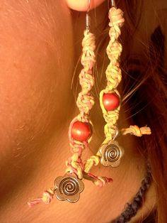 Pink tie dye hemp flower earrings by ItsKnotHard on Etsy, $4.00