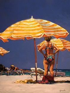 "Daily Paintworks - ""Umbrella Coverage"" - Original Fine Art for Sale - © Karin Jurick"