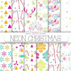Christmas digital paper neon winter neon christmas | Etsy NEON CHRISTMAS #neon #christmas #xmas #holiday #winter #neonparty #digitaldownload #background #snowflakes #candy #christmastree #digitalpaper #scrapbookpaper #partysupplies #planner Christmas Scrapbook Paper, Christmas Paper, Paper Clip Art, Neon Party, Christmas Invitations, Etsy Christmas, Winter Holidays, Winter Christmas, Christmas Printables