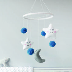 Star And Moon Mobile With Pom Poms