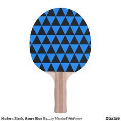 Modern Black, Azure Blue Geometric Triangles Ping-Pong Paddle by M to the Fifth Power Ping Pong Table Tennis, Ping Pong Paddles, Triangles, Modern, Blue, Design, Trendy Tree, Triangle Shape