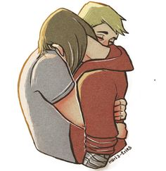 This. This is beautiful. This is after Steve has helped Bucky get new clothes probably talking a mile a minute about who he is and what great friends they were. Now Bucky knows something about Steve and understands that Steve will keep him safe so he lets Steve get near him and touch him. But Bucky just stands there and accepts the hug but doesnt return it. He is too afraid that he may hurt Steve or be rejected. Steve hugs him with both arms anyway.