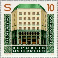 * Postzegel: Loos, Adolf (Oostenrijk) (125th Birth Anniv of Adolf Loos) Mi:AT 2145,Yt:AT 1975