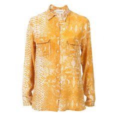 Yellow white Blouse Crepe Silk Handprinted ATELIERAMSTRDM 2015
