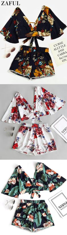 Up to 80% OFF! Floral Cropped Top And Lace Trim High Waisted Shorts. #Zaful #Twopieces #Tops zaful,zaful outfits,zaful tops,spring outfits,summer dresses,easter,easter outfits,super bowl,st patrick's day,cute,casual,fashion,style,cute rompers, denim jumpsuit, dressy jumpsuits, jumpsuits, pantsuits, petite jumpsuit, playsuits, rompers, sequin jumpsuit, shorts, shorts and tights, skirt, tops,  two piece dresses, two piece outfits, bottoms, pants outfits @zaful Extra 10% OFF Code:ZF2017