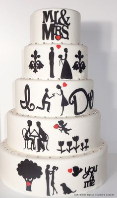 Wedding cake with love story