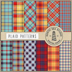 BUY5FOR8 Plaid Digital Paper Plaid Paper Tartan by NorthSeaStudio