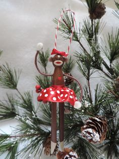 Girl Sock Monkey Clothespin Ornament