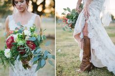 Arizona wedding. bride with lace up leather boots and garden flowers