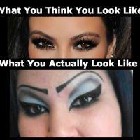 Unfortunate Eye Make Makeup Gone Wrong, Bad Eyebrows, Makeup Humor, Lol So True, Along The Way, Makeup Yourself, Make Me Smile, Memes, Halloween Face Makeup