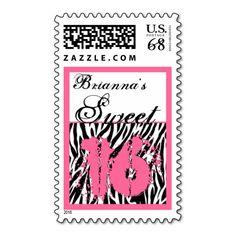 CUSTOM NAME Sweet 16 Birthday - Zebra Print