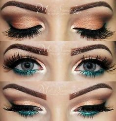 10 Golden Peach Makeup You Must Love We love this shimmery and colorful make up idea for blue eyes! For more makeup you'll love, go [. Pretty Makeup, Love Makeup, Makeup Inspo, Makeup Tips, Beauty Makeup, Makeup Looks, Makeup Tutorials, Makeup Ideas, Awesome Makeup