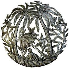 Steel Drum Art - 24 inch Palm Trees and Umbrella - Croix des Bouquets