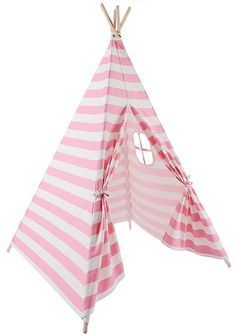 Outdoor Fabric, Indoor Outdoor, Canvas Teepee Tent, Kids Play Teepee, Tent Room, Pink And White Stripes, Black White, Striped Canvas, Big Girl Rooms