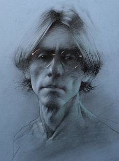 """Self-Portrait"" - Daniel Sprick, charcoal on toned paper contemporary figurative art male head eyeglasses man face portrait drawing #loveart #2good2btrue danielsprick.com"