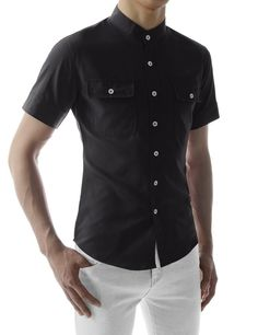 Mens Slim Fit Stretchy Short Sleeve China Collar Wrinkle Free Shirts at Amazon Men's Clothing store: