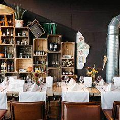 DIE KÜCHE IM KRAFTWERK Munich Food, Restaurant, Table Settings, Cooking School, Open Plan Kitchen, Rooftop Deck, Diner Restaurant, Table Top Decorations, Restaurants
