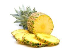 - Pineapple is an excellent source of vitamin C, manganese (a mineral that is critical to development of strong bones and connective tissue), vitamin B1, vitamin B6, folate, copper and dietary fiber.  - Pineapple is also known to discourage blood clot development.  - It's rich in Bromelain & Fibrin. Bromelain is known for being very efficient at breaking down proteins which accounts for its common use as a digestive aid. Fibrin is a protein that is used in the clotting and thickening of blood.