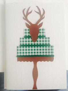 "Birthday Card ""Deer & Forest"" Deer, Birthday Cards, Christmas Ornaments, Holiday Decor, Handmade, Home Decor, Bday Cards, Hand Made, Decoration Home"