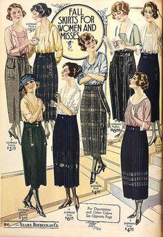 1921 Fall skirts for women and misses 20s Fashion, Edwardian Fashion, Fashion History, Vintage Fashion, Historical Costume, Historical Clothing, Moda Art Deco, Radium Girls, Vintage Dresses