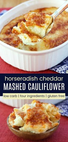 Horseradish Cheddar Mashed Cauliflower Casserole - this cheesy whipped cauliflower gratin has just a bit of a kick. An easy and delicious vegetable side dish that is gluten free, low carb, and keto. Cauliflower Gratin, Cheesy Cauliflower, Cauliflower Casserole, Cauliflower Recipes, Vegetable Casserole, Cheese Recipes, Low Carb Recipes, Cooking Recipes, Vegetable Sides
