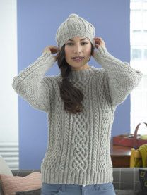 Inishturk Sweater and Tam in Lion Brand Fishermen's Wool - 90047AD