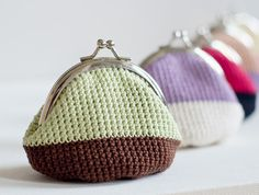 Crochet Coin Purse with Kiss Clasp Frame in Brown by studiowonjun Check out her etsy shop for more details. She sells these for around $40 each!