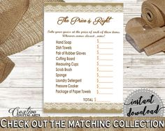 The Price Is Right Game in Burlap And Lace Bridal Shower Brown And Tan Theme, price game, country bridal, printable files, prints - NR0BX - Digital Product bridal shower wedding bride to be bridesmaids