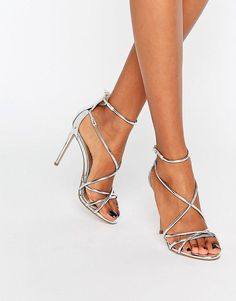 62835e06cb2 Office Spindle Silver Mirror Strappy Heeled Sandals