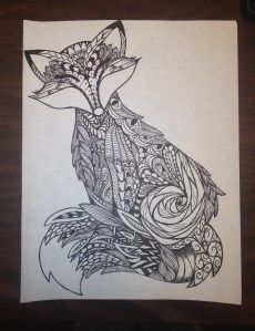 fox zentangle