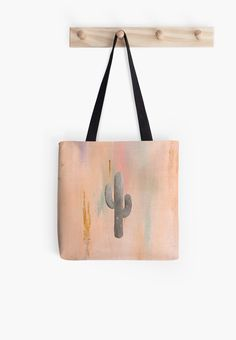 Desert Sunset with Cactus v.1 by Orion Rose   .  .  .  #art #design #tote #bag #shopping #women's #men's #womens #mens #fashion #watercolor #acrylic #digital #plants #cactus #cacti #texture #nature #graphic #plants #mint #peach #gold  #dogwood #minimalist #minimal #minimalism #southwest #southwestern #pale #aesthetic #desert