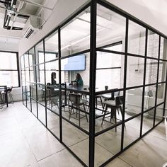 Did you know there's an easy, budget-friendly way to instantly create comfort and privacy in your office space? #partition ⠀ Glass Partitions by Crystalia Glass, eliminate visual distractions and noise so that you and your employees can work more efficiently, no matter how busy your office space gets throughout the day. #officedesigns #officeglass #glasspartitions #interiorofficesigns #interiordesignideas #glassdesign #modernoffice #moderndesign #office Glass Office Partitions, Glass Partition Wall, Office Interior Design, Office Interiors, Glass Wall Design, Office Dividers, Diy Furniture Decor, Steel Frame, House Design