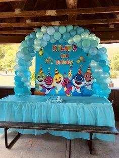 Shark Birthday Cakes, Baby Boy 1st Birthday, 3rd Birthday Parties, Birthday Ideas, Shark Party Decorations, Girl Birthday Decorations, Baby Shark, Baby Party, Birthdays