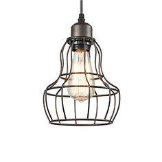 Pendant Light MKLOT Ecopower Minimalist Vintage 630 Wide Oil Rubbed Bronze Hanging Pendant Lighting Chandelier LOFT Lamp Wire Cage Guard use E26 Bulb ** Click for Special Deals  #KitchenPendants